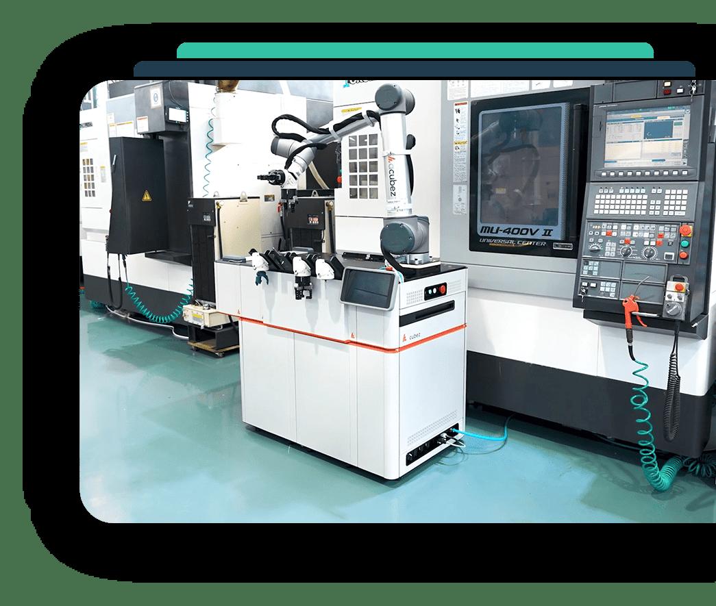 Acubez™ modular platform, factory floor next to OKUMA